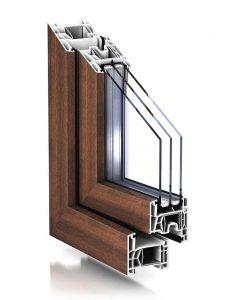 """Plastové okno TROCAL 76 AD v drevodekore """"vlašský orech"""""""