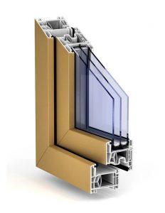 """Plastové okno TROCAL 76 AD vo farbe """"okrová žltá"""""""