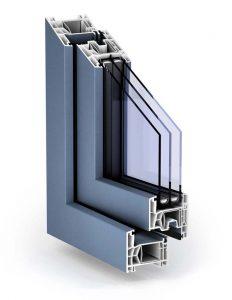 "Plastové okno TROCAL 76 AD vo farbe ""modrá tauben"""