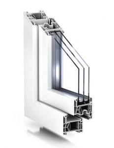 Plastové okno TROCAL 76 AD v bielej farbe