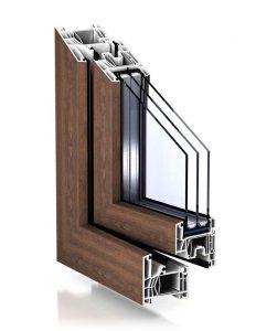 "Plastové okno TROCAL 76 MD v drevodekore ""vlaššský orech""."