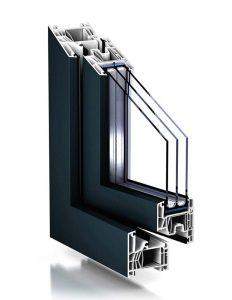 """Plastové okno TROCAL 76 MD vo farbe """"schvarzgrau""""."""