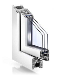 Plastové okno TROCAL 76 MD v bielej farbe.